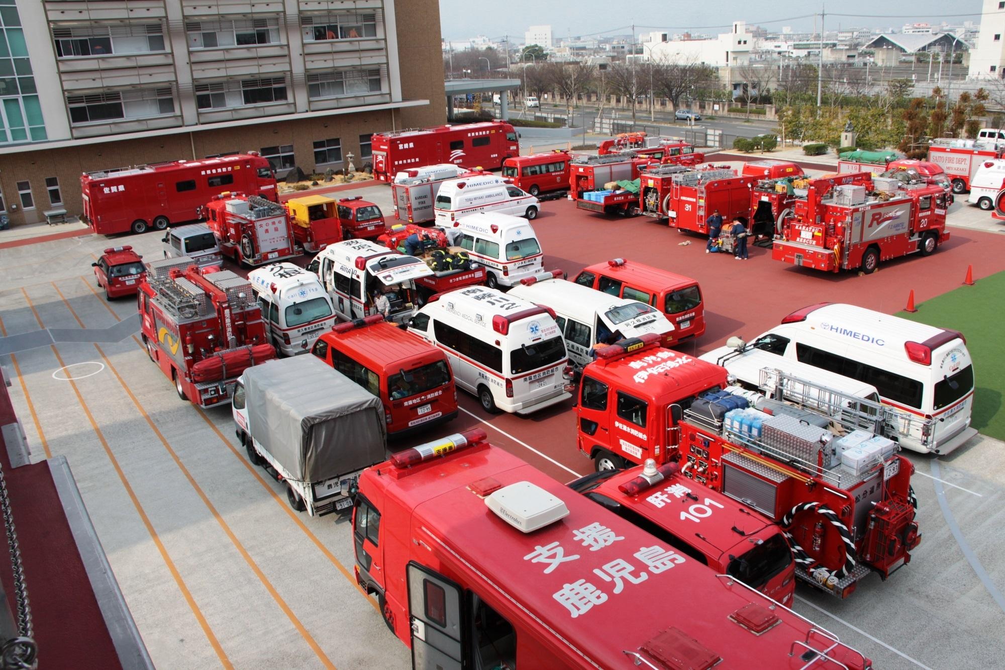 大災害時は、全国の緊急消防援助隊が集結します。